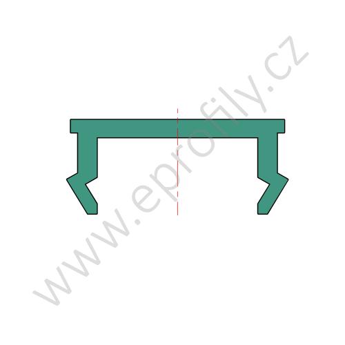Krytka drážky profilu plast, červená RAL 3020, 3842549878, N8, 2000 mm, Balení (10ks)