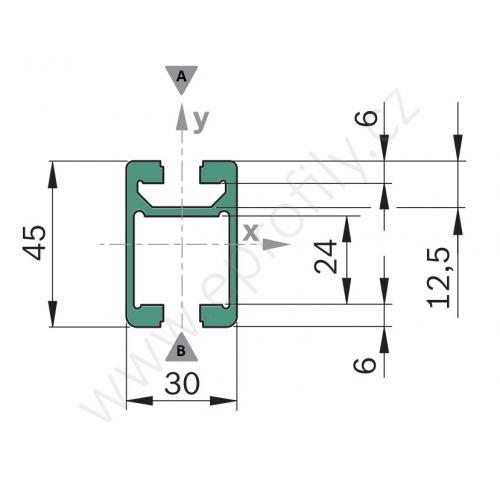 Hliníkový profil - kolejnice, 3842992946, 30x45C, Řezaný profil