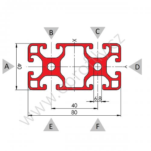 Hliníkový, konstrukční profil, 80x40L, Řezaný profil