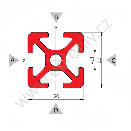 Hliníkový, konstrukční profil, 20x20 6m, Řezaný profil