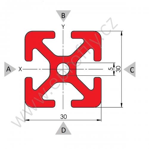 Hliníkový, konstrukční profil, 30x30, Řezaný profil