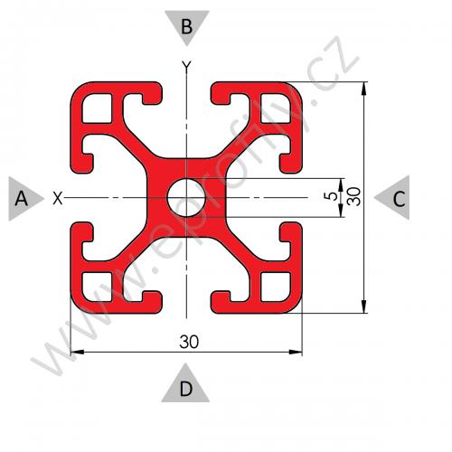 Hliníkový, konstrukční profil 30x30L, Řezaný profil