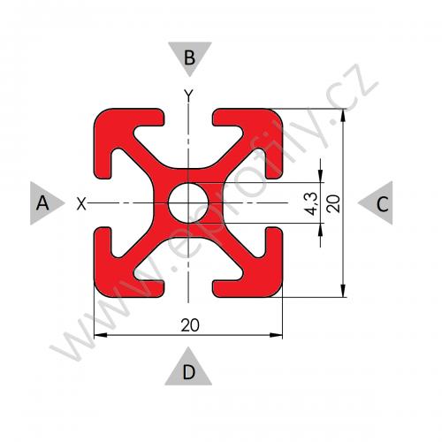 Hliníkový, konstrukční profil, 20x20 3m, Celá tyč