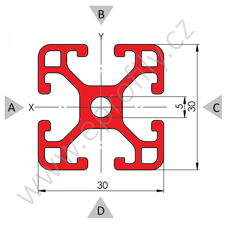 Hliníkový, konstrukční profil 30x30L, Celá tyč