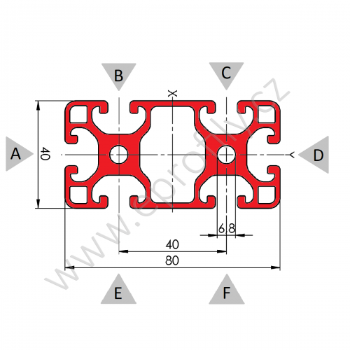 Hliníkový, konstrukční profil, 80x40L, Balení (8ks)