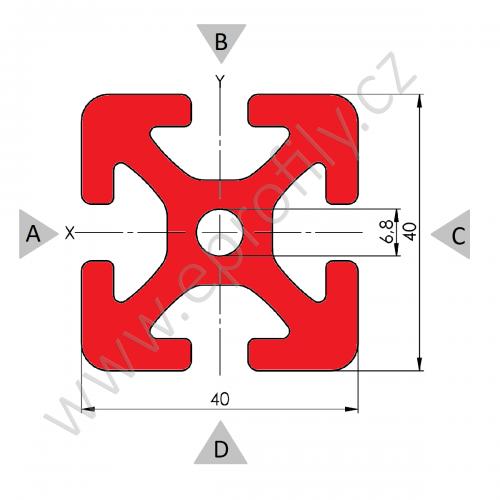 Hliníkový, konstrukční profil, 40x40, Celá tyč