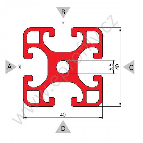 Hliníkový, konstrukční profil, 40x40L, Celá tyč