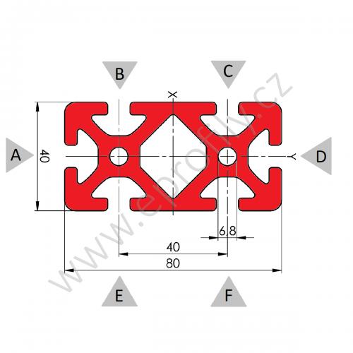 Hliníkový, konstrukční profil, 80x40, Celá tyč