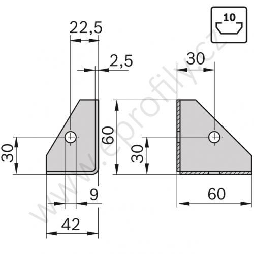 Spojovací úhelník 90° plechový, ESD, 3842146813, N10, (1ks)