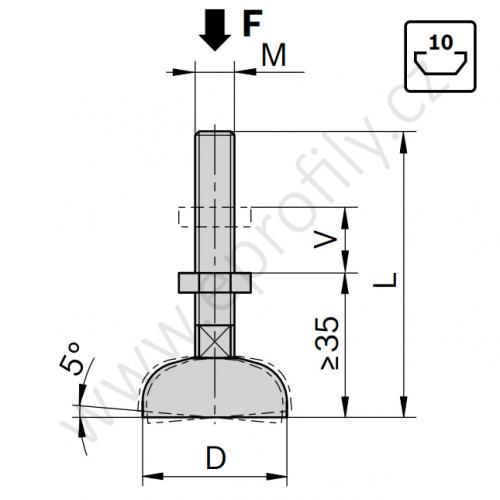 Vyrovnávací noha ocelová, pozinkovaná, ESD, 3842311956, D44 M16x145, (1ks)