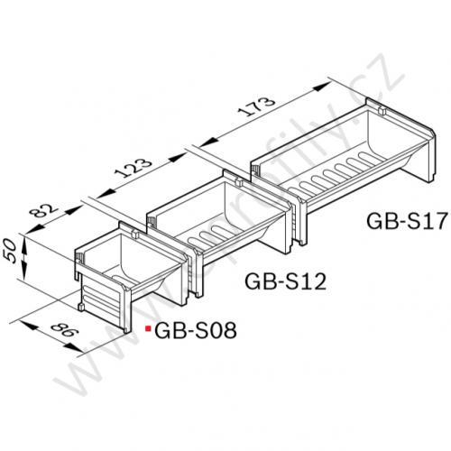 Dávkovací vanička, světle šedá, 3842344764, GB-S08; 82x50x86, (1ks)