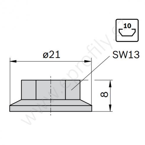 Matice s nákružkem, ESD, 3842345081, M8, (1ks)