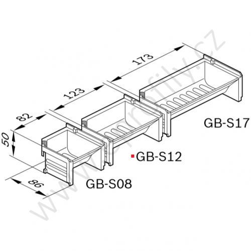 Dávkovací vanička, černá, ESD, 3842346295, GB-S12; 123x50x86, (1ks)