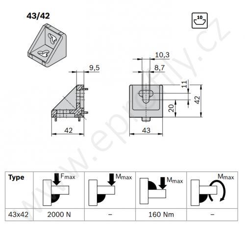 Spojovací úhelník 90° vnější, ESD, 3842348526, 43x42, Balení (10ks)