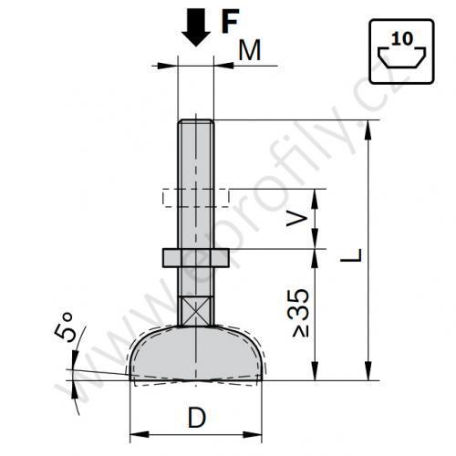 Stavitelná noha, ESD, 3842352061, D44 M12x85, Balení (20ks)