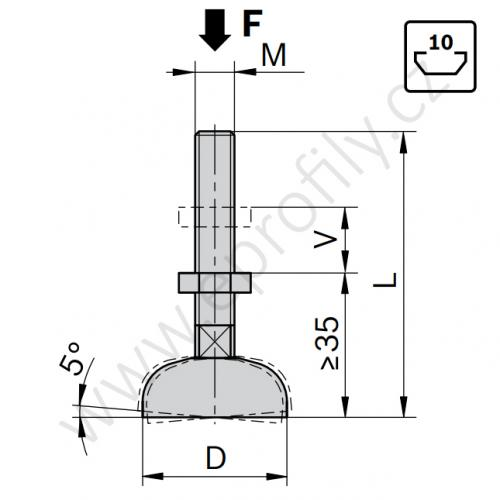 Stavitelná noha, ESD, 3842352061, D44 M12x85, (1ks)