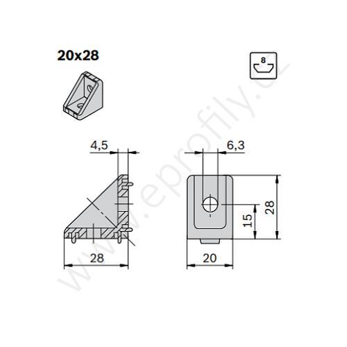 Spojovací úhelník 90° vnější, ESD, 3842501587, 20x28, (1ks)