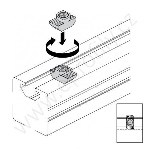 Matice T do drážky, ESD, 3842501753, N8 M6, Balení (100ks)