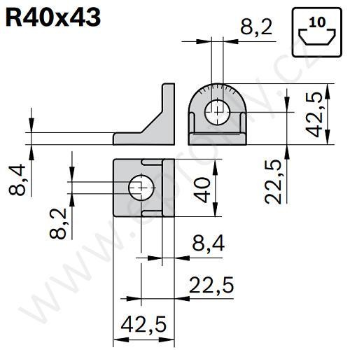 Úhelník 90° vnější pro spojování pod úhlem, ESD, 3842504760, R40x43, Balení (10ks)