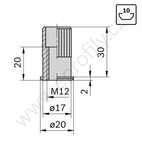 Závitová vložka, 3842504790, M12 D17, Balení (10ks)