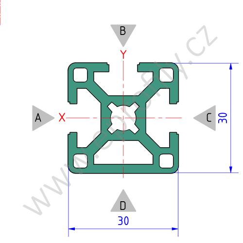 Hliníkový, konstrukční profil, 3842506951, 30x30 3N, Balení (20ks)