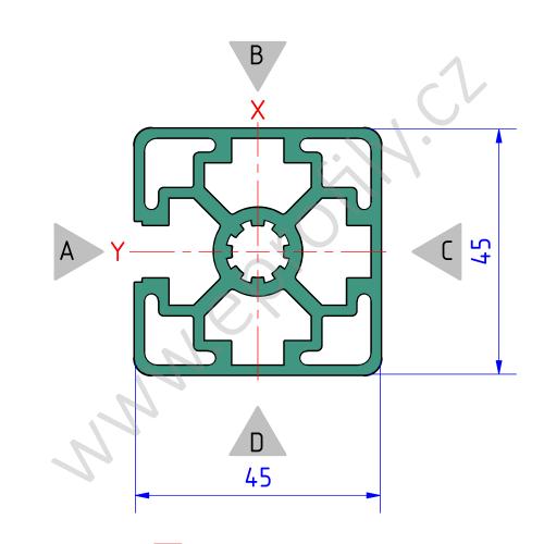 Hliníkový, konstrukční profil, 3842506956, 45x45L 1N, Balení (20ks)