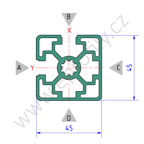 Hliníkový, konstrukční profil, 3842506957, 45x45L 2NVS, Balení (20ks)