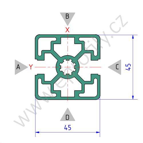 Hliníkový, konstrukční profil, 3842506958, 45x45L 2N, Balení (20ks)