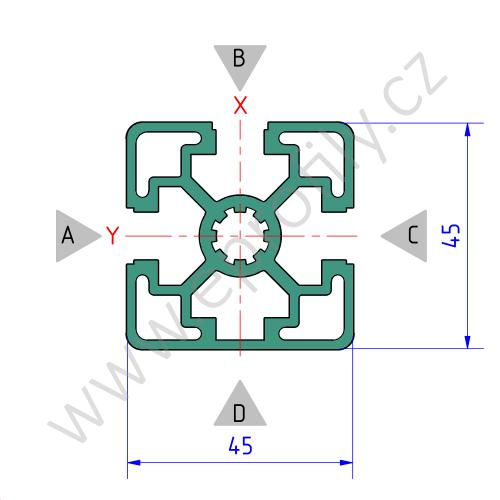 Hliníkový, konstrukční profil, 3842506959, 45x45L 3N, Balení (20ks)