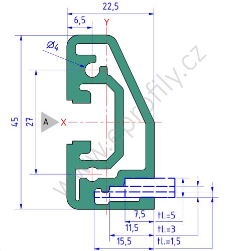 Hliníkový policový profil , 3842557941, RP 22,5x45, Balení (20ks)