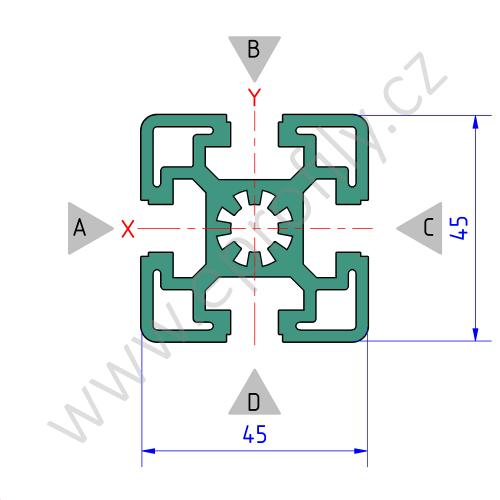 Hliníkový, konstrukční profil, 3842509175, 45x45, Balení (20ks)