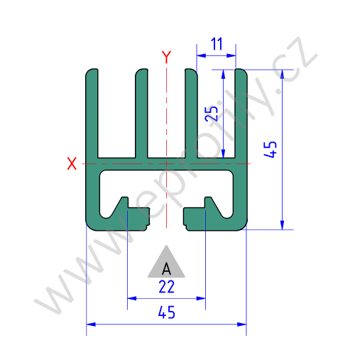 Profil pro posuvné dveře Al 45, 3842509177, Profil pro posuvné dveře Al 45, Balení (20ks)