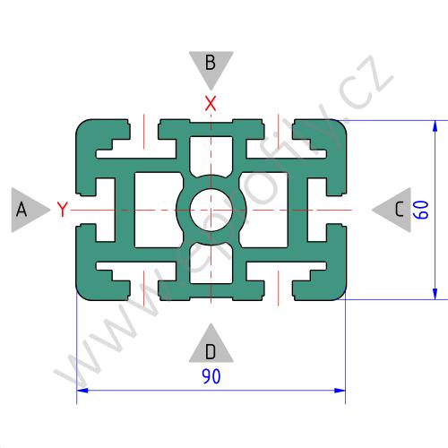 Hliníkový, konstrukční profil, 3842557207, 60x90, Balení (10ks)