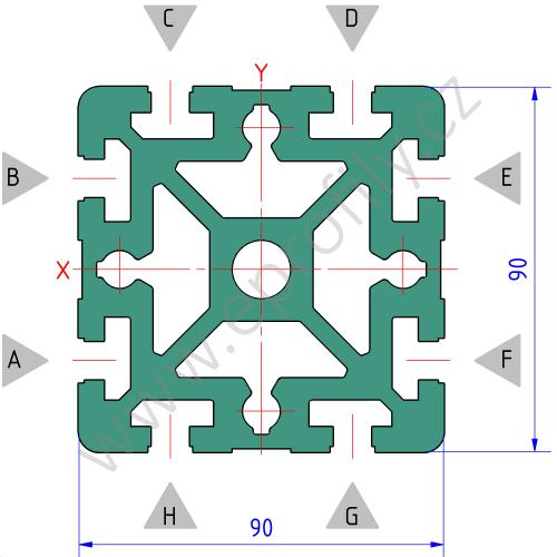 Hliníkový, konstrukční profil, 3842509189, 90x90, Balení (6ks)