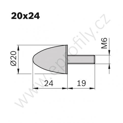 Pružný doraz - kulatý, 3842510165, D20 L24 M6, (1ks)