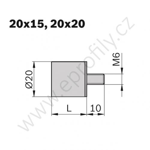 Pružný doraz - hranatý, 3842510464, D20 L15 M6, (1ks)