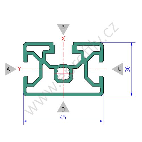 Hliníkový, konstrukční profil, 3842511704, 30x45, Balení (18ks)