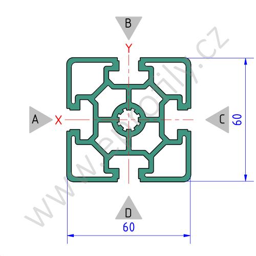 Hliníkový, konstrukční profil, 3842557204, 60x60L, Balení (20ks)