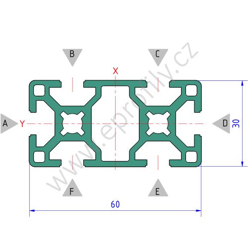 Hliníkový, konstrukční profil, 3842512603, 30x60, Balení (10ks)