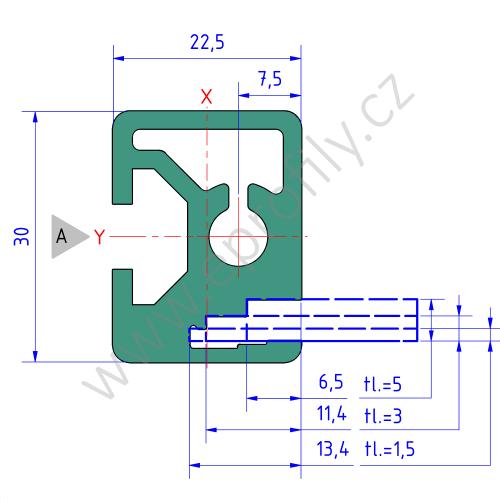 Hliníkový policový profil , 3842557946, RP 22,5x30, Balení (20ks)