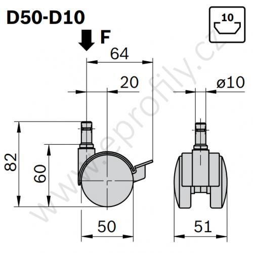 Kolečko dvojité, 3842515457, D50-D10, (1ks)