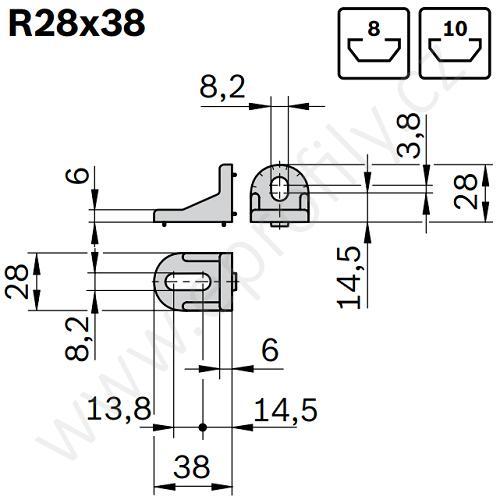 Úhelník 90° vnější pro spojování pod úhlem - SET, ESD, 3842515547, R28x38; N8/N10, (1ks)