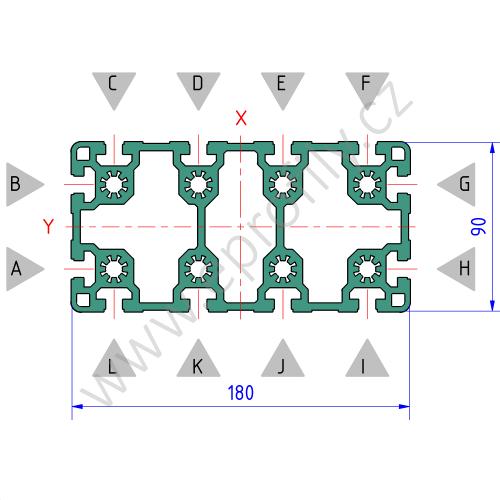 Hliníkový, konstrukční profil, 3842516015, 90x180L, Balení (3ks)