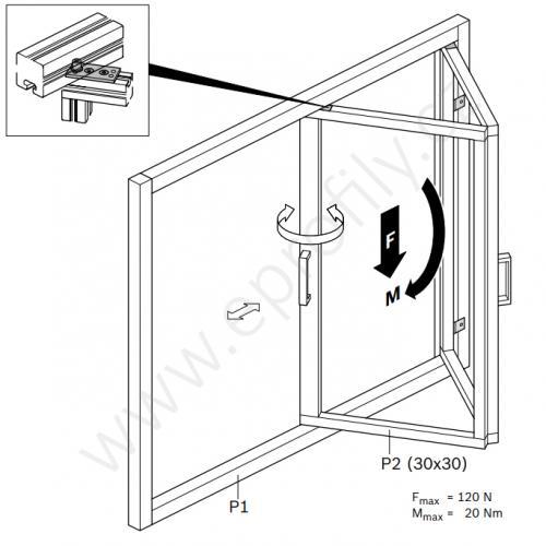 Skládací pant dveřní a okenní, 3842516715, 30x30, (1ks)