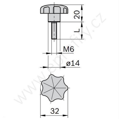 Rukojeť růžice, 3842516849, M6x15, (1ks)