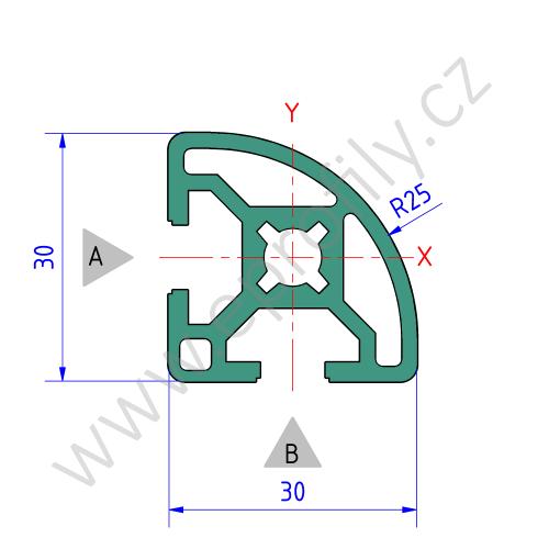Hliníkový, konstrukční profil, 3842517198, 30x30 R, Balení (20ks)