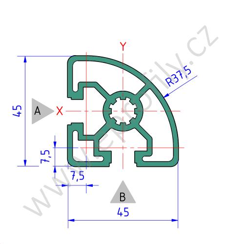 Hliníkový, konstrukční profil, 3842517200, 45x45L R, Balení (20ks)