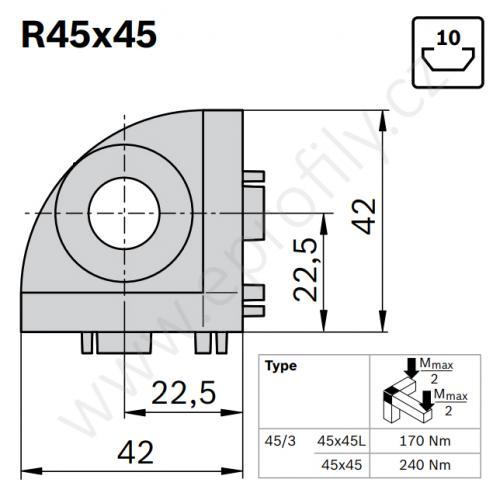 3D rohová spojka, ESD, 3842519321, R45x45, (1ks)