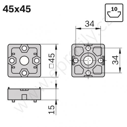 Spojka T - SET, ESD, 3842520802, 45x45, (1ks)
