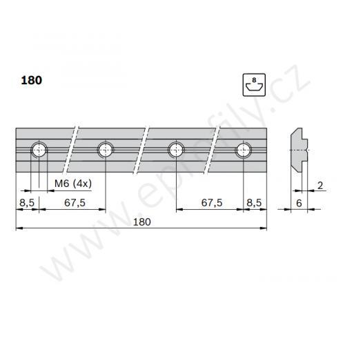 Profilová spojka do drážky, 3842521216, N8-180, Balení (10ks)